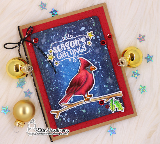 Christmas Cardinal Card by Ellen Haxelmans | Winter Birds and Ornamental Wishes Stamp Sets by Newton's Nook Designs #newtonsnook #handmade