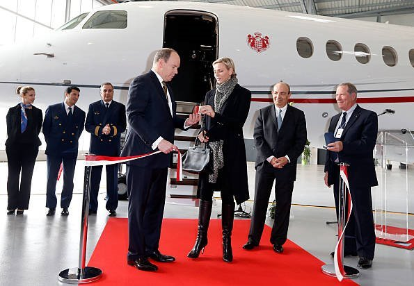 Princess Charlene Prince Albert II, Princess Caroliner and Pierre Casiraghi at presentation of the Monegasque Princely family's new plane
