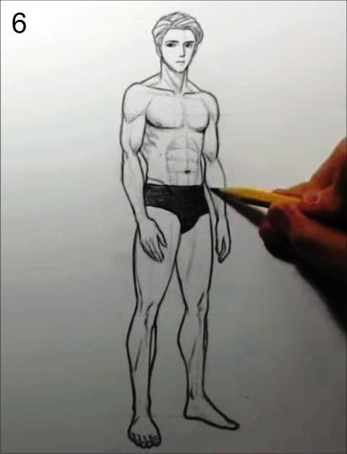cara menggambar manusia tahap 6