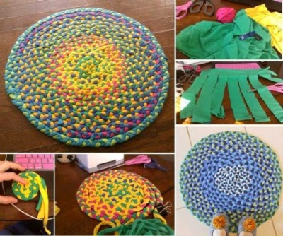 Karpet atau keset terbuat dari kain kaos bekas.
