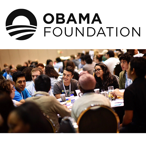 Obama Foundation logo, image of a group photo from a training session with youth