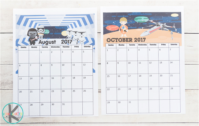 star wars printable calendar for kids
