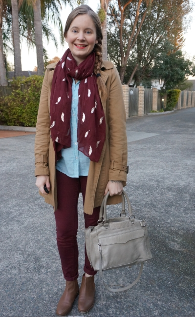 burgundy and mint winter business casual office trench coat scarf outfit | awayfromblue