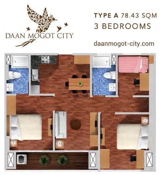 Apartemen DAMOCI Jakarta Tipe 3 BR