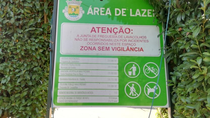 Placa área de Lazer Lavacolhos