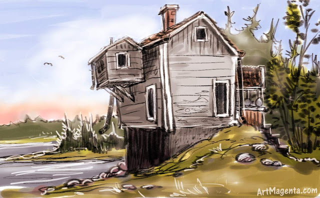 A house sketch by artist and illustrator Artmagenta