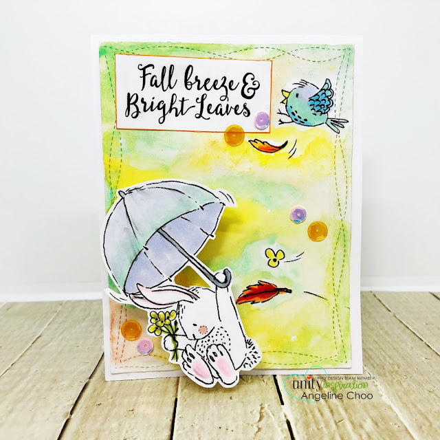 ScrappyScrappy: Unity Stamp Lisa Glanz - Fall Breeze Bright Leaves #scrappyscrappy #unitystampco #lisaglanz #youtube #quicktipvideo #cardmaking #papercraft #stamp #stamping #copicmarkers #watercolor #primawatercolor #pasteldreams #fallcard #actionwobble #aurorasequins