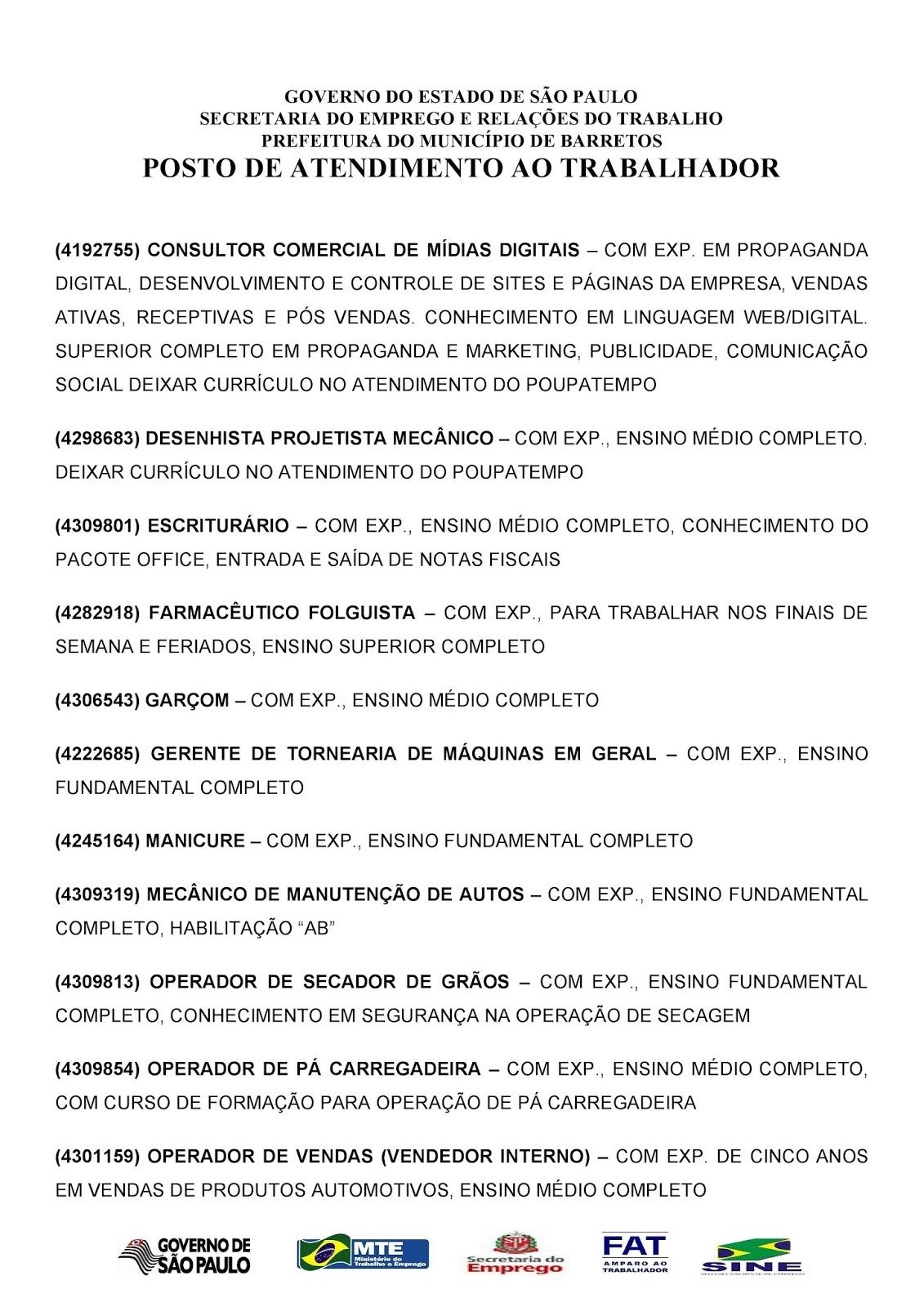 VAGAS DE EMPREGO DO PAT BARRETOS-SP PARA 22/11/2017 QUARTA-FEIRA - Pag. 2