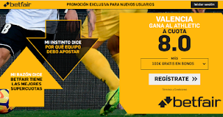 betfair supercuota Valencia gana Athletic 3 marzo 2019