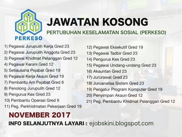 Jawatan Kosong Pertubuhan Keselamatan Sosial Perkeso November 2017