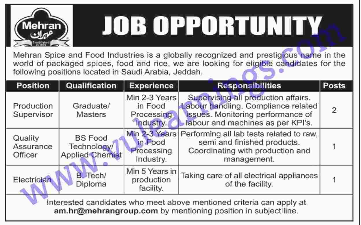 Job in Mehran Spice and Food Industries