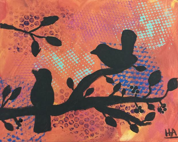 Angela Anderson Art Owl Silhouette Paintings - Kids