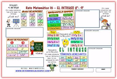 Intruso, Retos matemáticos, Desafíos matemáticos, Problemas matemáticos, Grado, Monomio, Polinomio, Operaciones