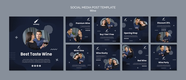 Instagram post collection with couple for winery Free Psd