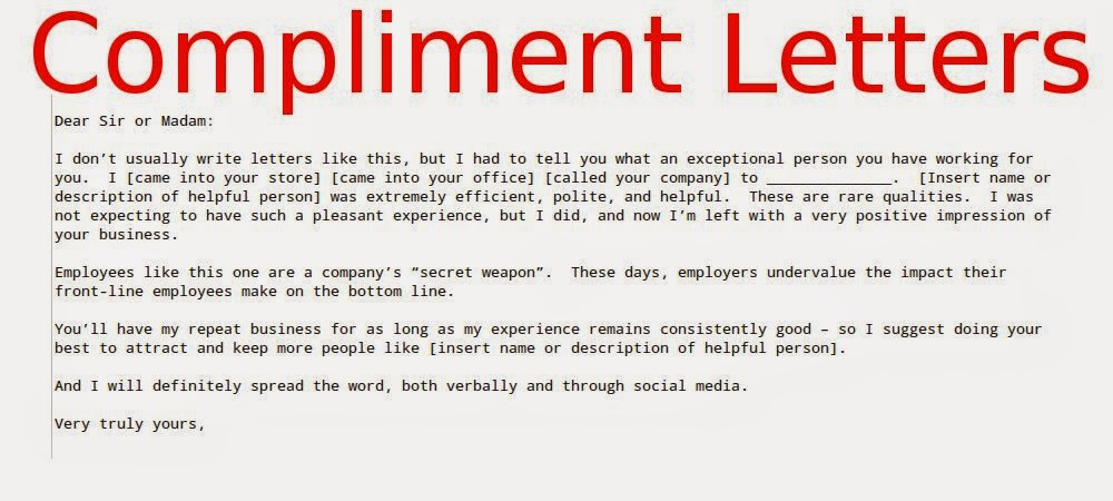 Compliment Letters For Employees