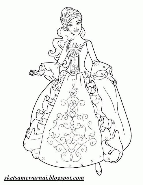 Sketsa Mewarnai Gambar Barbie Princess Sketsa Mewarnai