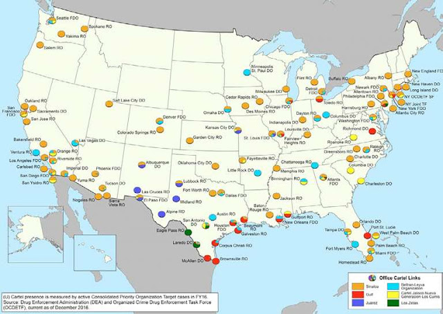 El mapa de El Cártel de Sinaloa en EU la organización criminal más poderosa de México, la que más cocaína, metanfetaminas, y heroína trafica a Estados Unidos