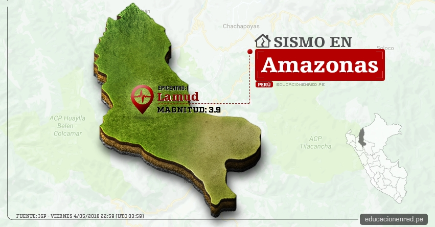 Temblor en Amazonas de magnitud 3.9 (Hoy Viernes 4 Mayo 2018) Sismo EPICENTRO Lamud - Luya - IGP - www.igp.gob.pe