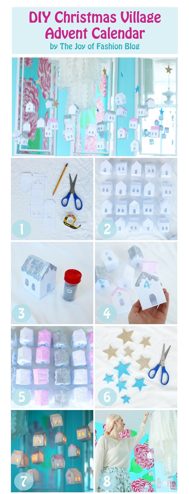 Use paper and glitter to create this cute DIY Advent Calendar made to look like a Christmas Village. Click through for full tutorial
