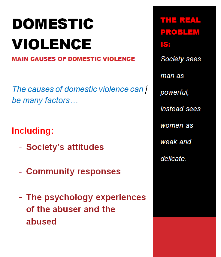 the social problem of domestic violence To violence in the home not only predisposes children to numerous social and physical problems, but also teaches them that violence is a normal way of life—therefore, increasing their risk of becoming society's next.