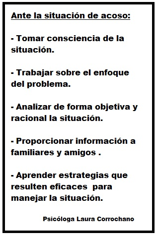 Acciones frente al acoso laboral. Fuente: Ps. Laura Corrochano