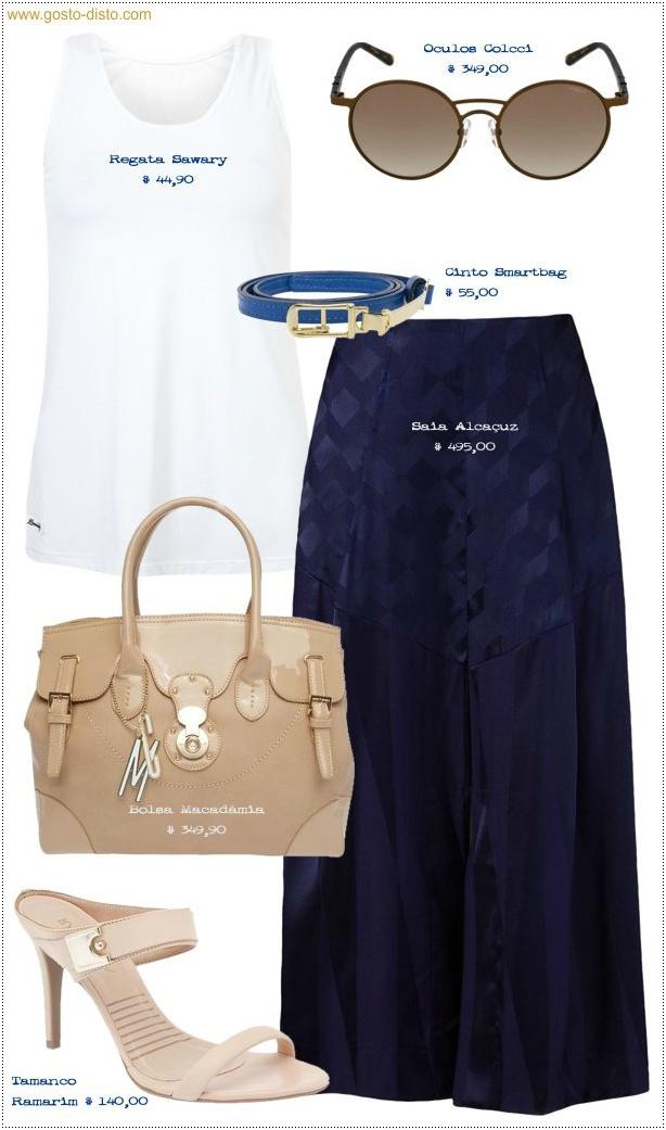 Look Camiseta regata branca com saia midi