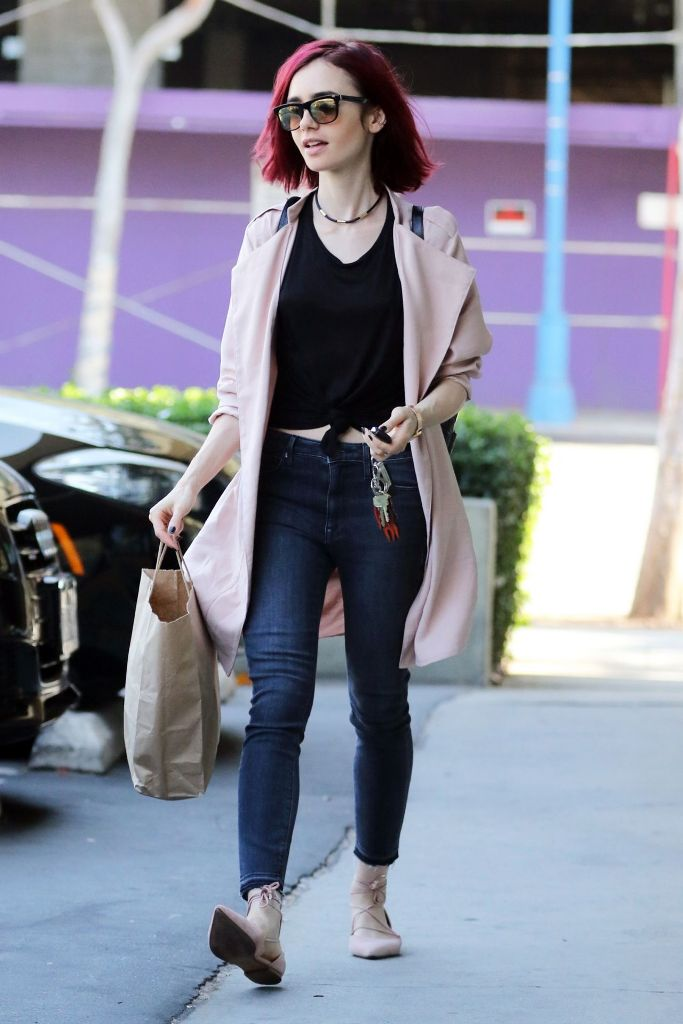 Lily Collins in Casual Style at Earthbar in West Hollywood