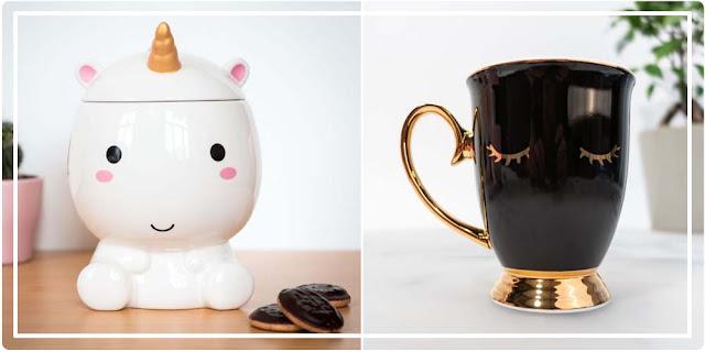 Boite à biscuits Licorne et tasse cils Cadeaux Folies