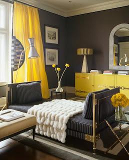 habitación amarillo con negro