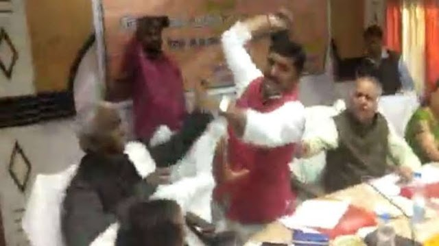 BJP MP Beats Party MLA With Shoe.