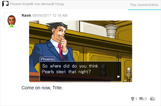 Phoenix Wright Ace Attorney Trials and Tribulations where did Pearls sleep