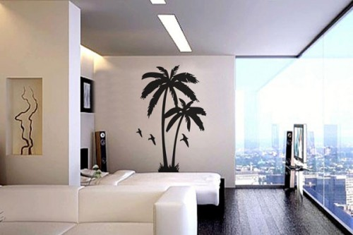 Stiker Dinding motif Pohon Palm untuk Dekorasi cat dinding