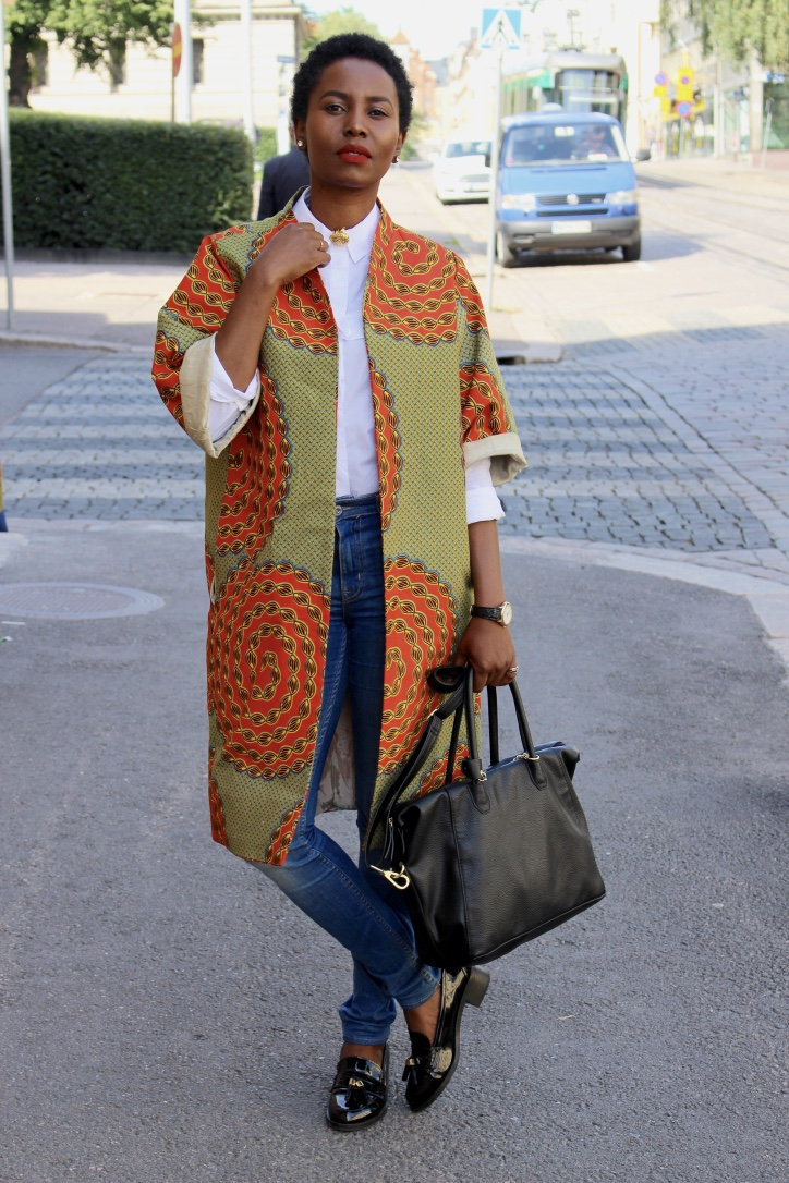 ciku ndegwa wearing a mimiri designs african print coat