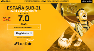 betfair supercuota Eurocopa Sub-21 España gana a Italia 27 junio