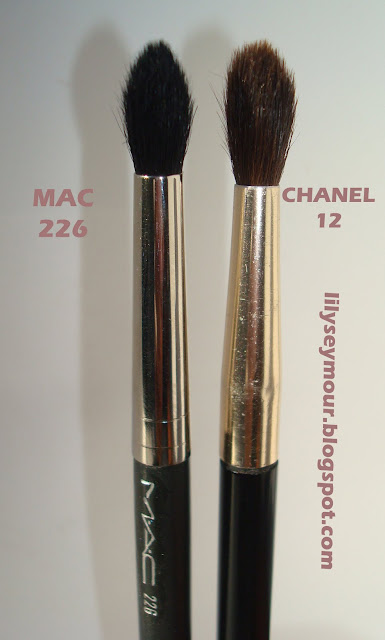 Mac 226 Crease Brush vs. Chanel 12 Crease Brush