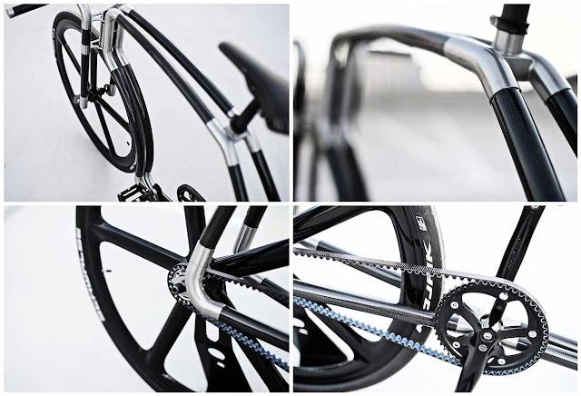 Составные элементы VIKS Carbon: углеродные трубки и колеса, стальные фитинги, ременной привод.