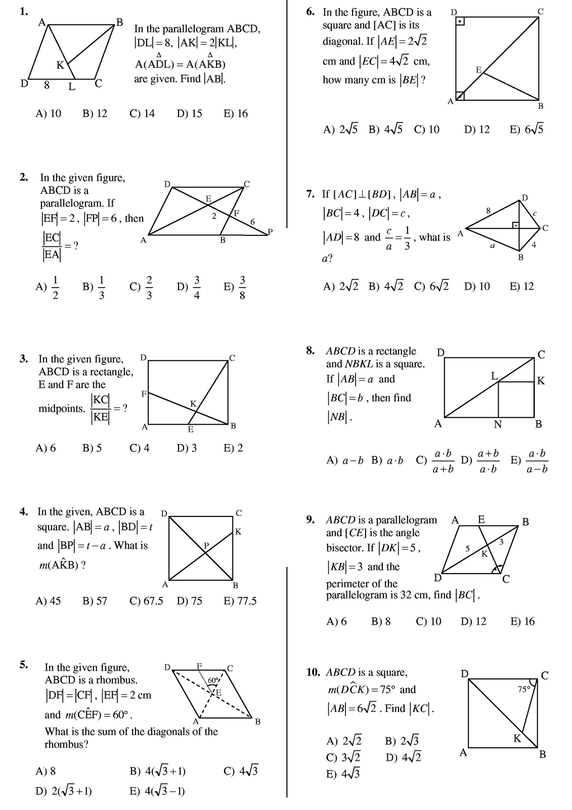 Worksheet On Quadrilaterals   Printable Worksheets and Activities for  Teachers [ 1600 x 1131 Pixel ]