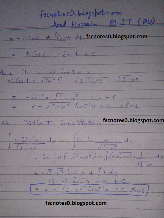 FSc ICS Notes Math Part 2 Chapter 3 Integration Exercise 3.4 Question 1 Asad Hussain 12