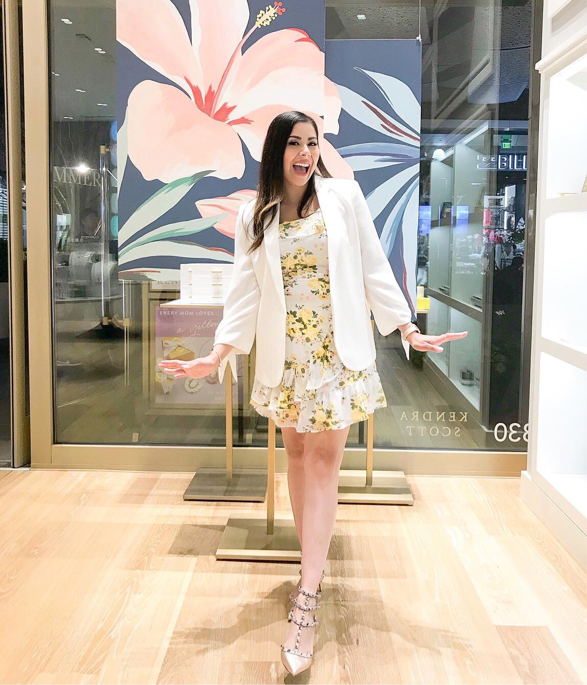 JCPenney yellow floral dress, yellow and white floral ruffle dress, valentino gold rockstud heels