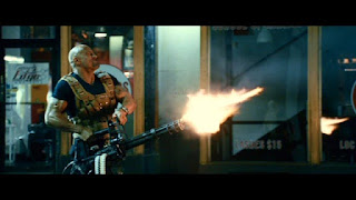 Dwayne Johnson with minigun