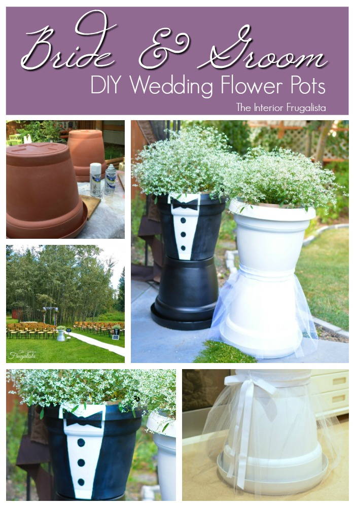 These Bride and Groom Flower Pots are easy to make in an afternoon using large plastic plant pots, spray paint, tulle and ribbon with an easy-to-follow tutorial included.