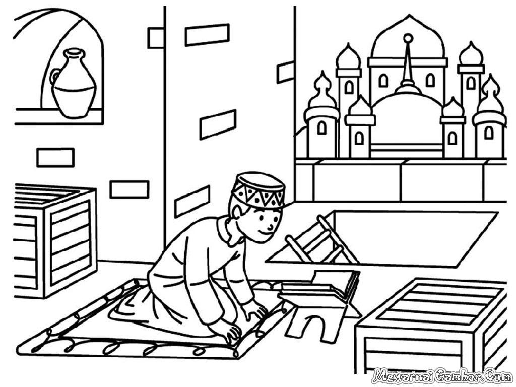 Mewarnai Gambar Orang Mengaji Al Qur an Mewarnai Gambar