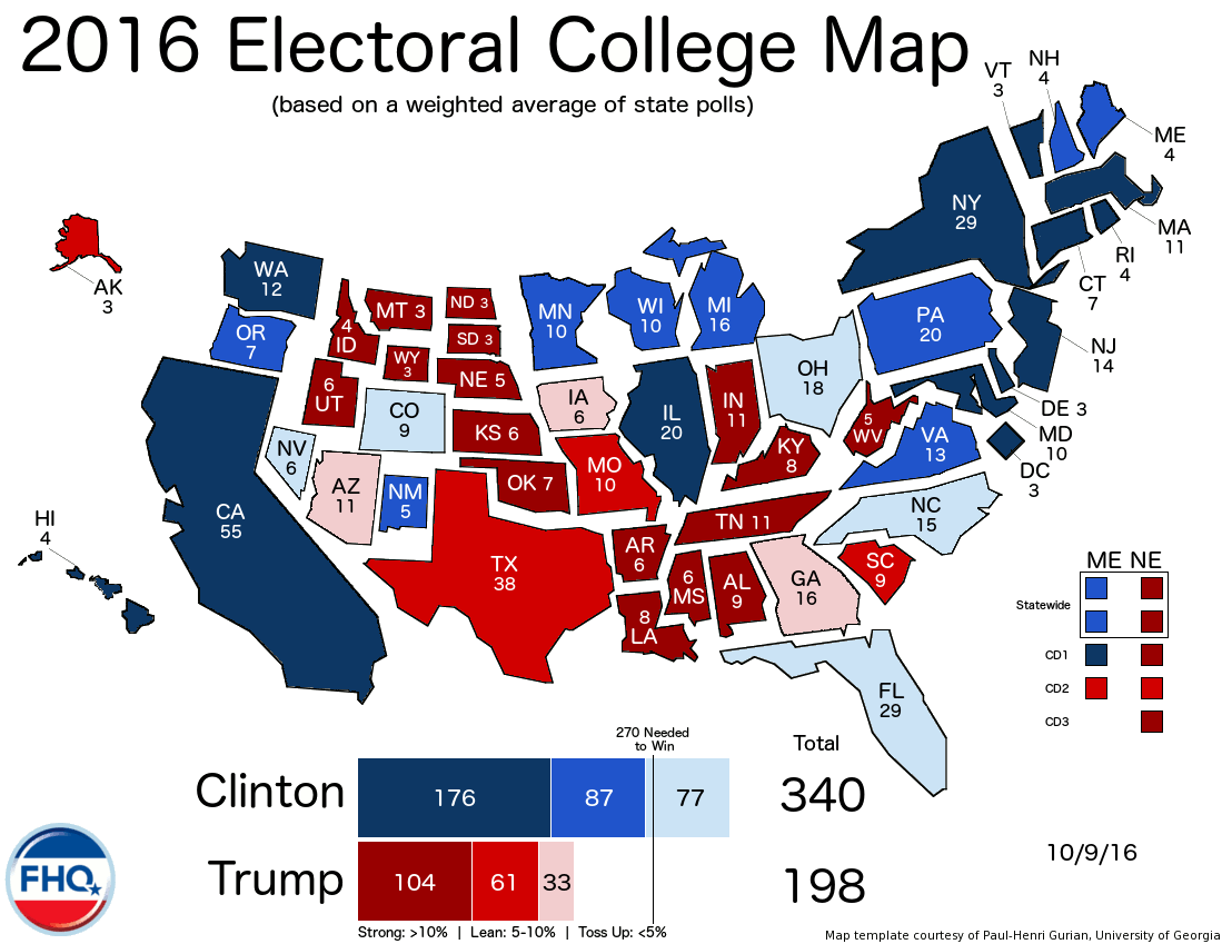 Frontloading HQ: The Electoral College Map (10/9/16)