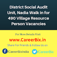 District Social Audit Unit, Nadia Walk in for 490 Village Resource Person Vacancies