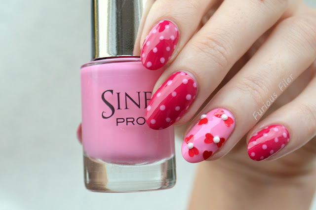 valentine's day nails polka dot bows rhinestones pink