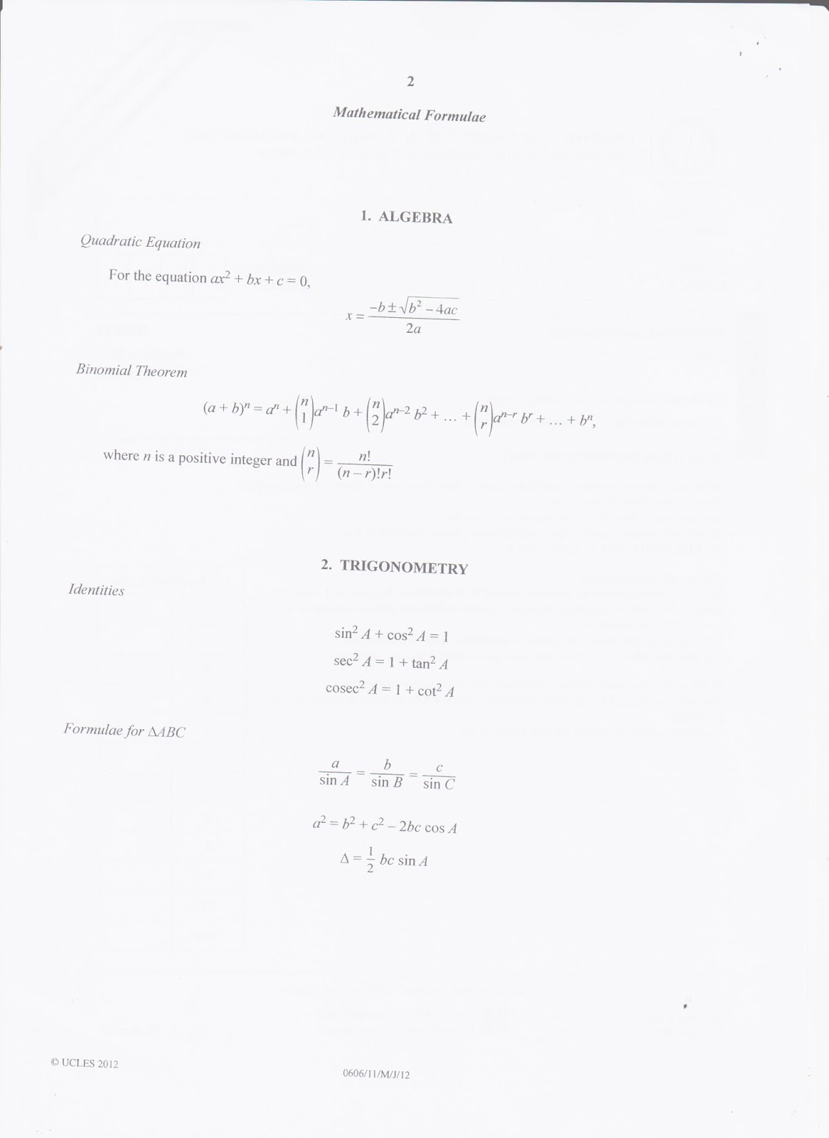 Madison : Xtremepapers additional mathematics 0606