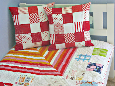 Red and White Quilted Pillow Covers | © Saltwater Quilts 2012