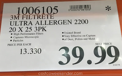 Deal for the 3M Filtrete Elite Allergen Healthy Living 2200 Air Filter at Costco