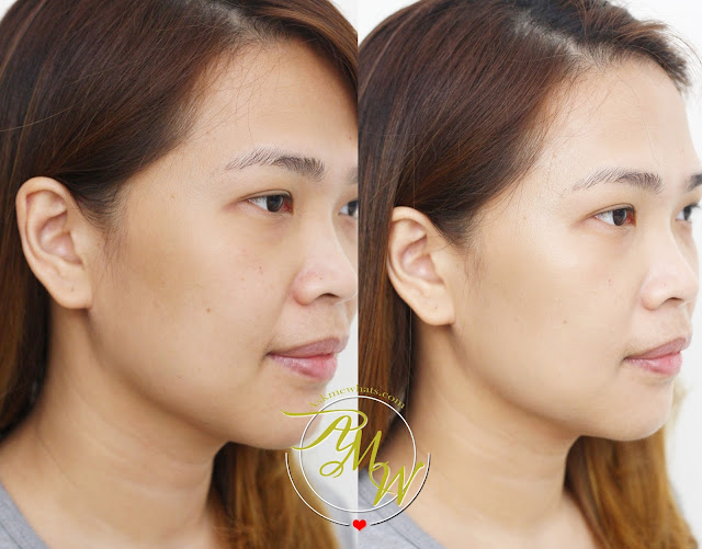 a before and after photo of Burt's Bees BB Cream Review in shade light/medium