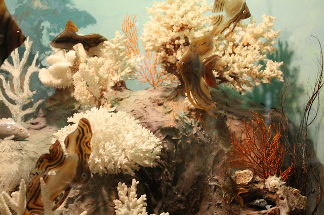 Fish cut from agate in diorama at Lizzadro Museum of Lapidary Art in Elmhurst, IL